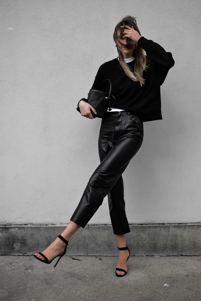 zara leather trousers pants outfit all black oversized