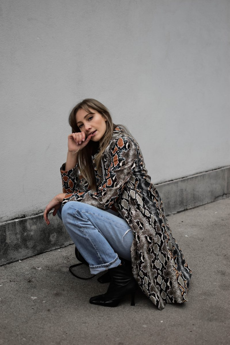 snake print coat outfit french connection style
