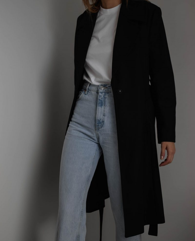 classic black coat outfit, french connection coat
