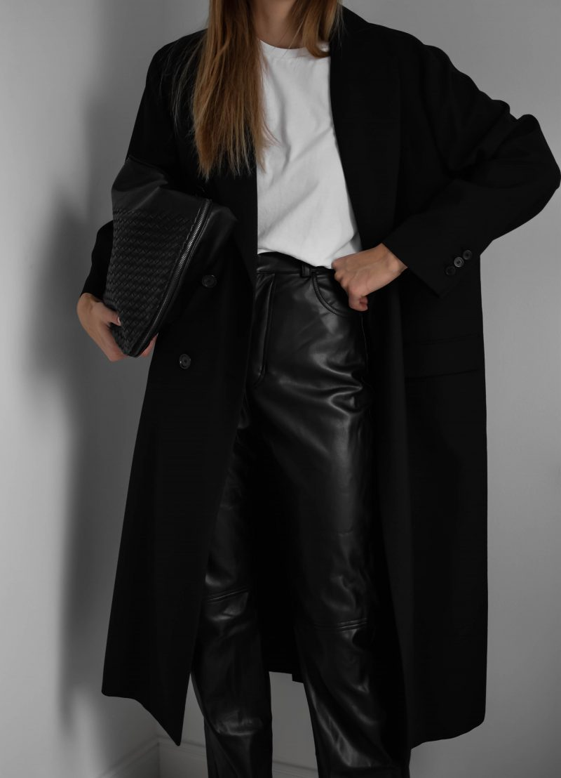 wide leather pants outfit, trousers, minimal black outfit, sezane t-shirt
