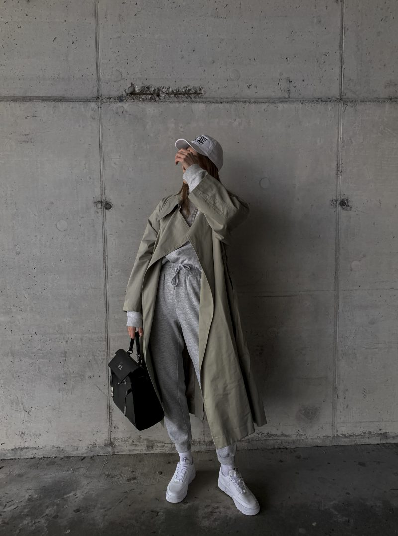 katarinavidd, mango oversized coat, sage trench coat, mango trench coat, green trench coat, sweatpants and coat style outfit, joggers outfit