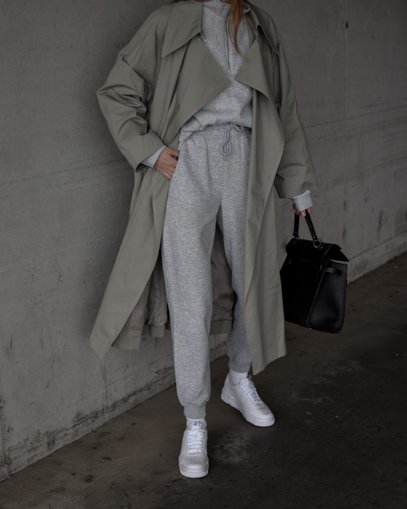 katarinavidd, mango oversized trench coat, sage trench coat, mango trench coat, green trench coat, sweatpants and coat style outfit, joggers outfit