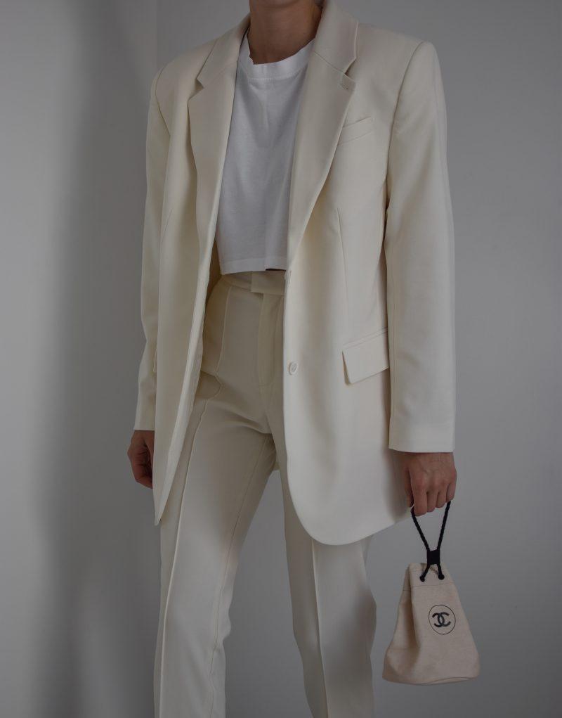 L'ACADEMIE dylan suit, nude suit, oversized blazer, chanel bag outfit