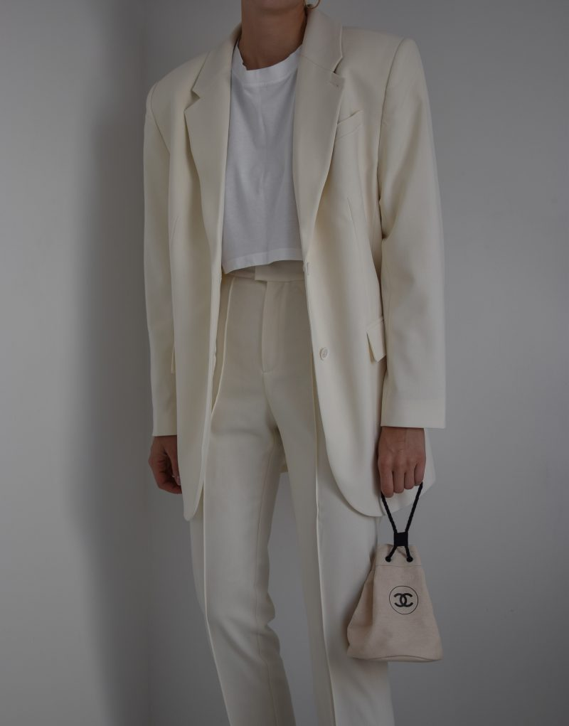 L'ACADEMIE dylan suit, nude suit for women, oversized blazer, chanel bag outfit